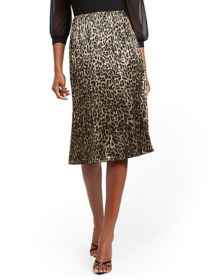 Metallic Leopard Midi Skirt - New York & Company