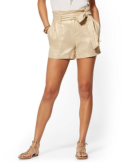 Metallic Linen Paperbag-Waist Short - New York & Company