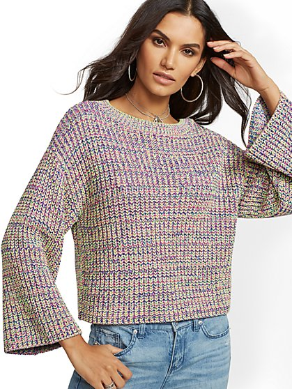 Metallic Multicolor Bell-Sleeve Sweater - New York & Company