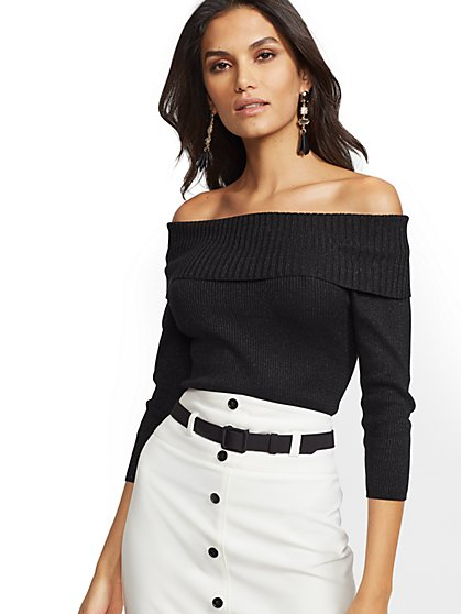 Metallic Off-The-Shoulder Sweater - 7th Avenue - New York & Company