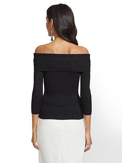 1a1b8f09a657e ... Metallic Off-The-Shoulder Sweater - 7th Avenue - New York   Company