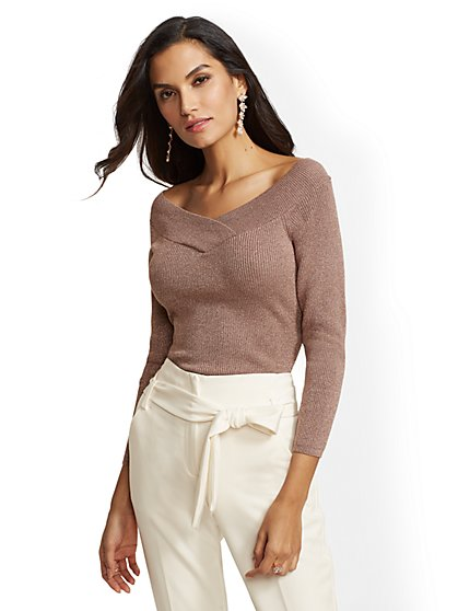 Metallic Off-The-Shoulder Sweater - New York & Company