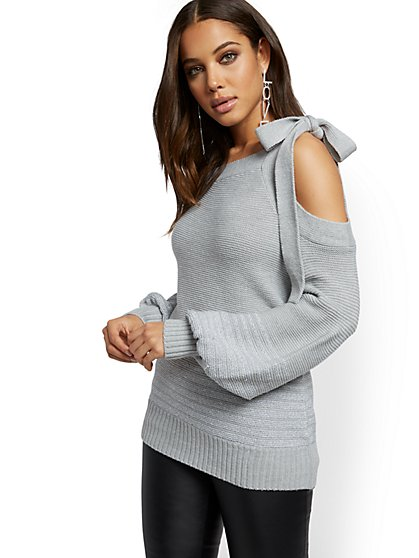Metallic One-Shoulder Sweater - New York & Company