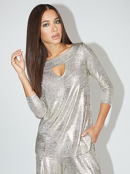 Metallic Open-Neck Tunic Top - NY&C Style System - New York & Company