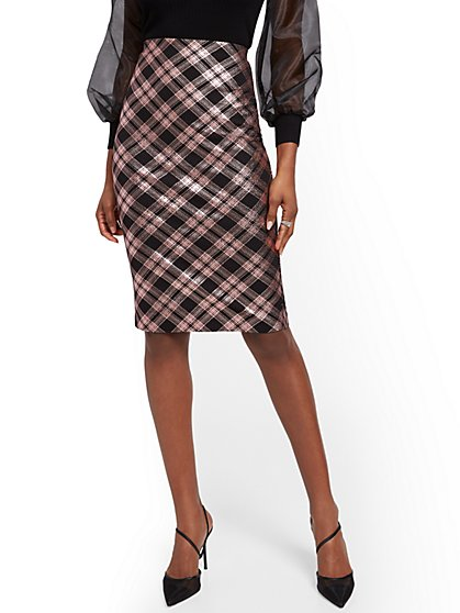 Metallic Plaid Pencil Skirt - New York & Company