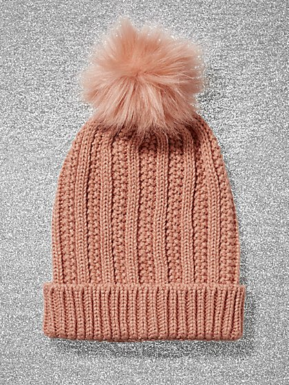 Metallic Pom-Pom Trim Ribbed-Knit Hat - New York & Company