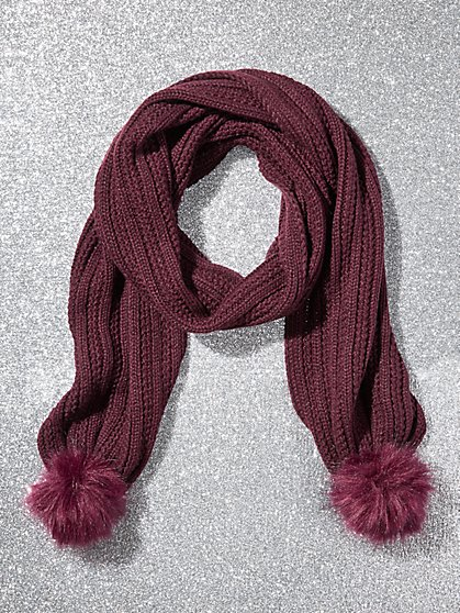 Metallic Pom-Pom Trim Ribbed-Knit Scarf - New York & Company