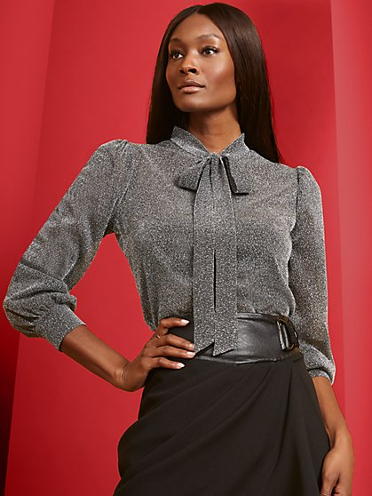 Metallic Puff-Sleeve Tie-Front Top - New York & Company