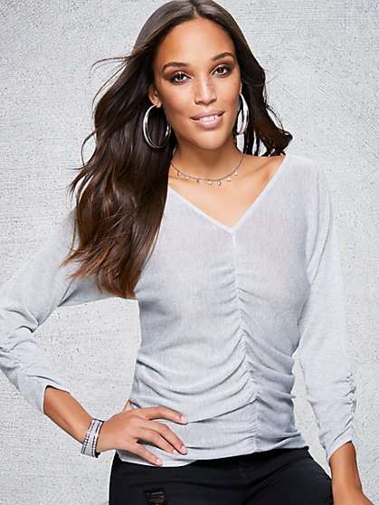 Metallic Ruched V-Neck Sweater - New York & Company