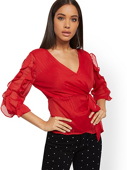 Metallic Ruffled Wrap Blouse - New York & Company