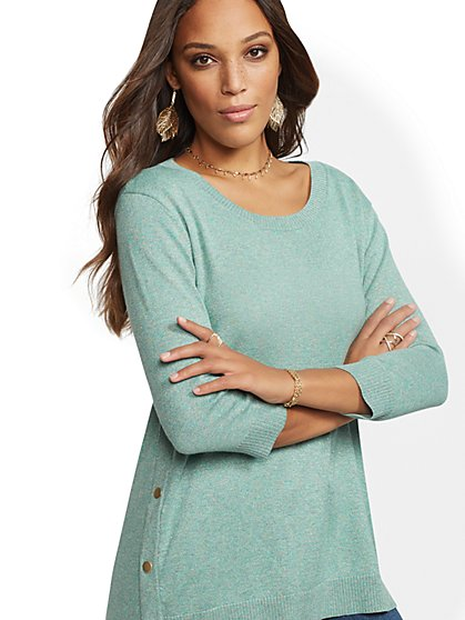 Metallic Side-Snap Tunic Sweater - New York & Company