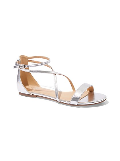 Metallic Strappy Flat Sandal - New York & Company
