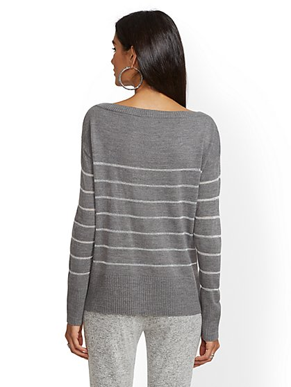 ed1d5204eb ... Metallic-Stripe Bateau-Neck Sweater - New York   Company ...