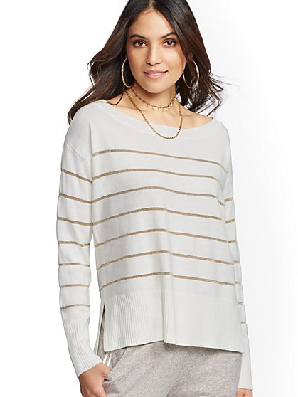 Metallic-Stripe Bateau-Neck Sweater - New York & Company