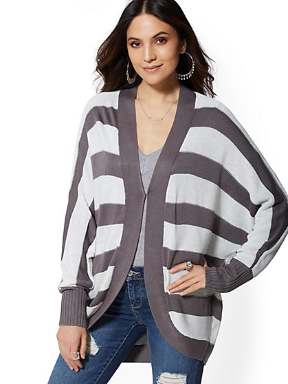 Metallic Stripe Cocoon Cardigan - New York & Company