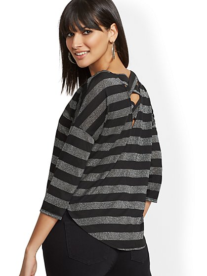 Metallic Stripe - Crisscross-Back - Soho Soft Tee - New York & Company