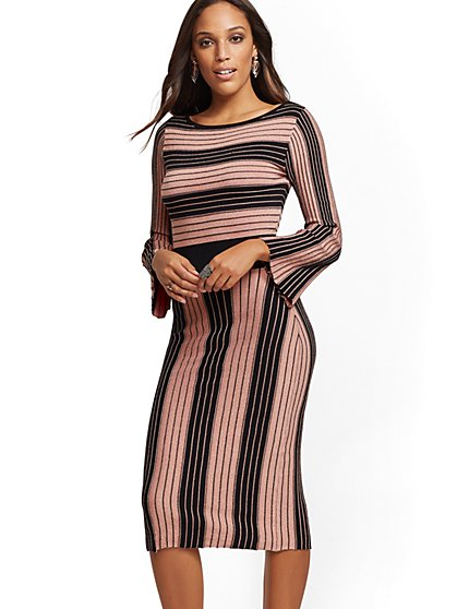 Metallic Stripe Fit And Flare Sweater Dress New York Company