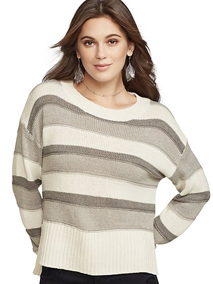 bb55f7a8b0 Metallic Stripe Hi-Lo Sweater - New York   Company ...