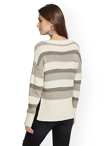 ecb157f517 ... Metallic Stripe Hi-Lo Sweater - New York   Company ...