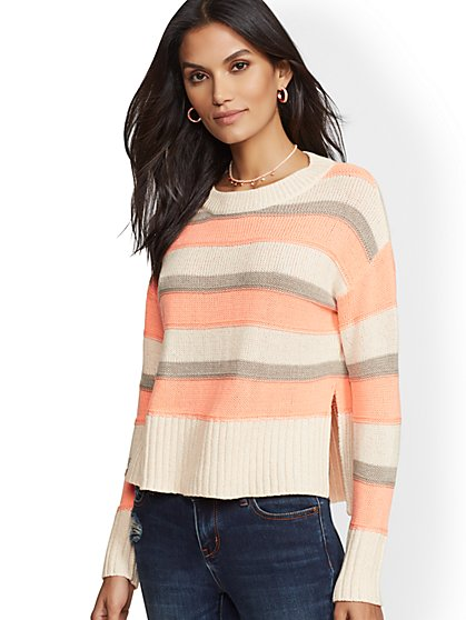 Metallic Stripe Hi-Lo Sweater - New York & Company