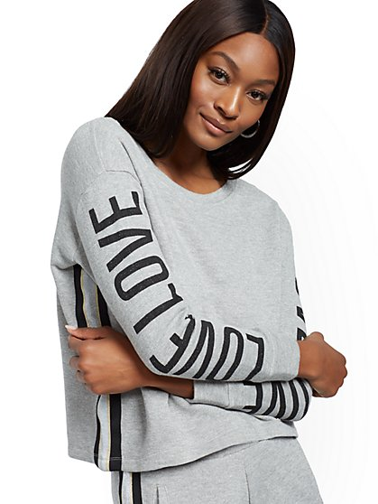 "Metallic-Stripe ""Love"" Sweatshirt - Soho Street - New York & Company"