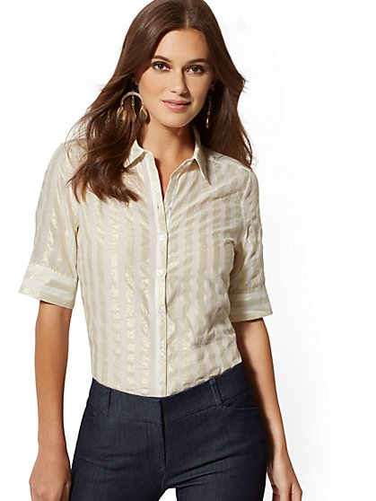 Metallic-Stripe Madison Stretch Shirt - 7th Avenue - New York & Company