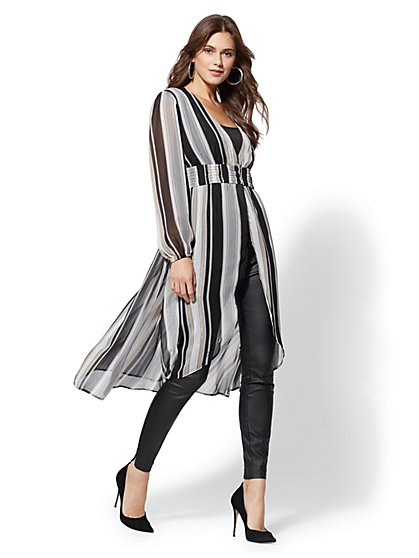 Metallic Stripe Maxi Blouse - New York & Company