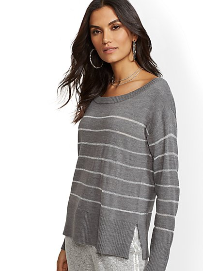 Metallic-Stripe Off-The-Shoulder Sweater - New York & Company