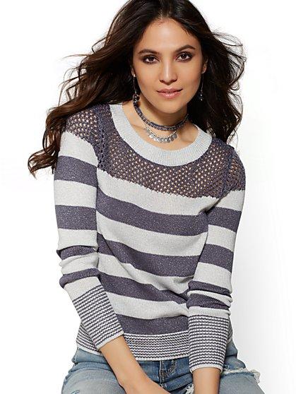 Metallic Stripe Open-Stitch Sweater - New York   Company ... 67147c8e8