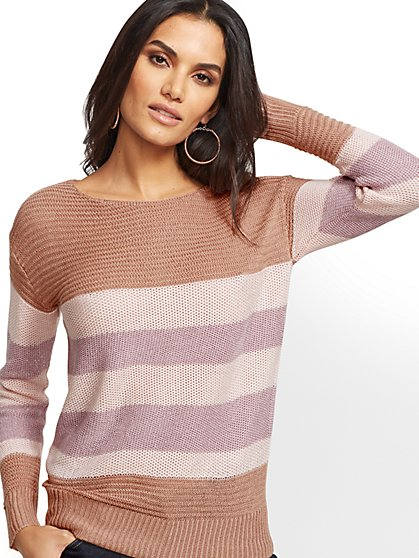 Metallic Stripe Tunic Sweater - New York & Company