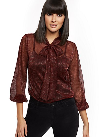 Metallic Tie-Neck Blouse - New York & Company