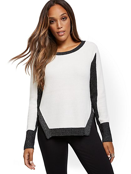 Metallic-Trim Hi-Lo Sweater - New York & Company