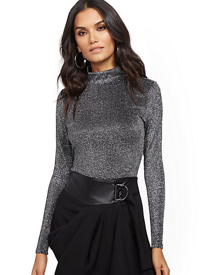 Metallic Turtleneck Top - New York & Company