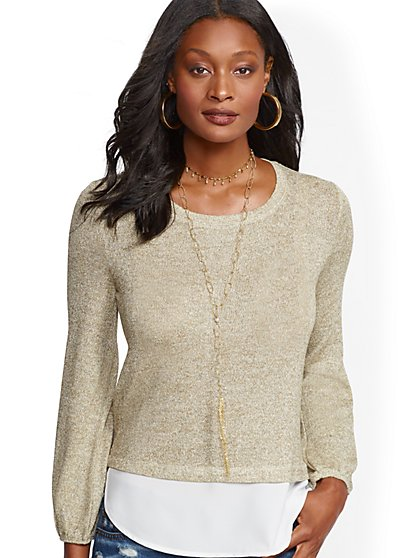 Metallic Twofer Top - New York & Company