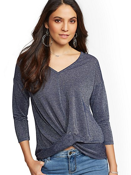 Metallic V-Neck Twist-Detail Top - New York & Company