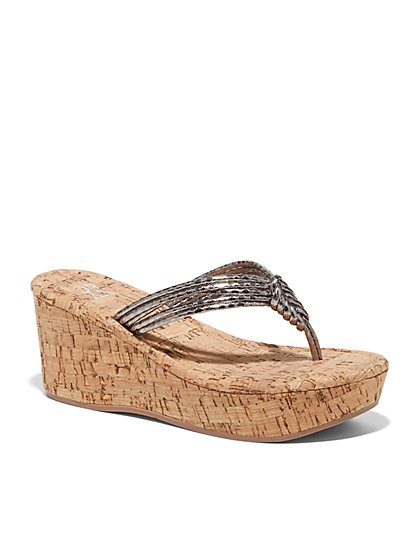 Metallic Wedge Sandal - New York & Company