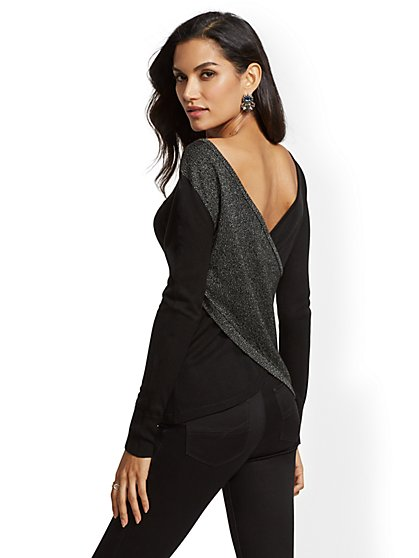 Metallic Wrap Sweater - New York & Company