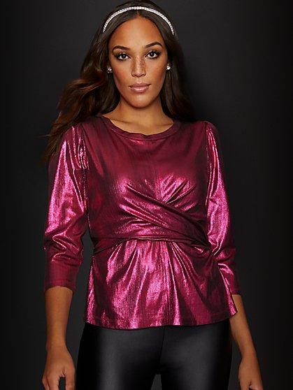 Metallic Wrap Top - New York & Company