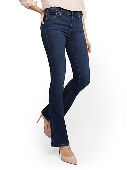 Mid-Rise Barely Bootcut Jeans - Paparazzi Blue - New York & Company