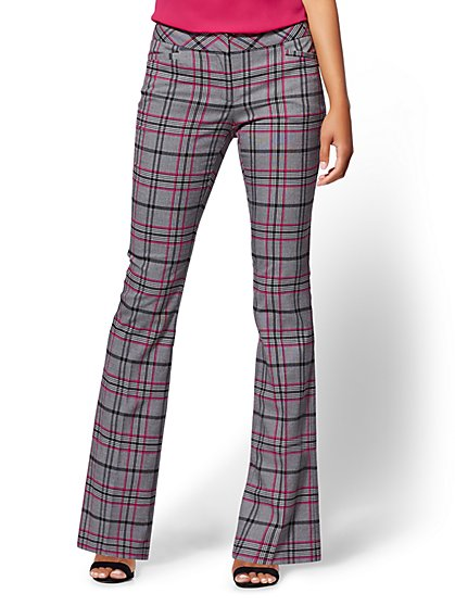 Mid Rise - Bootcut Pant - Plaid - 7th Avenue - New York & Company