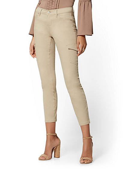 Mid-Rise Cargo Ankle Jeans - Khaki - New York & Company