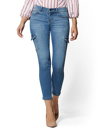 Mid-Rise Cargo Super-Skinny Ankle Jeans - Blue Ultron - New York & Company