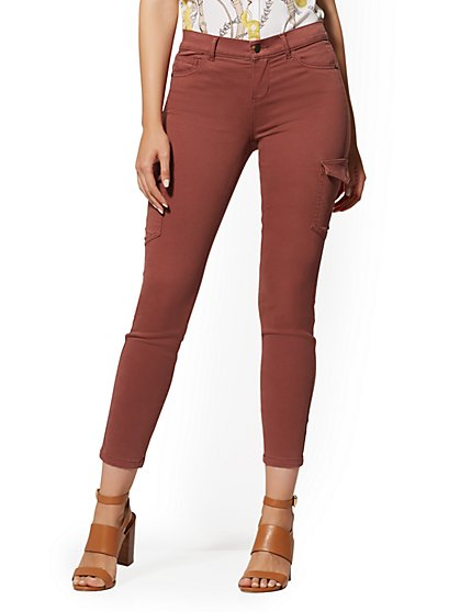 Mid-Rise Cargo Super-Skinny Ankle Jeans - Rust - New York & Company