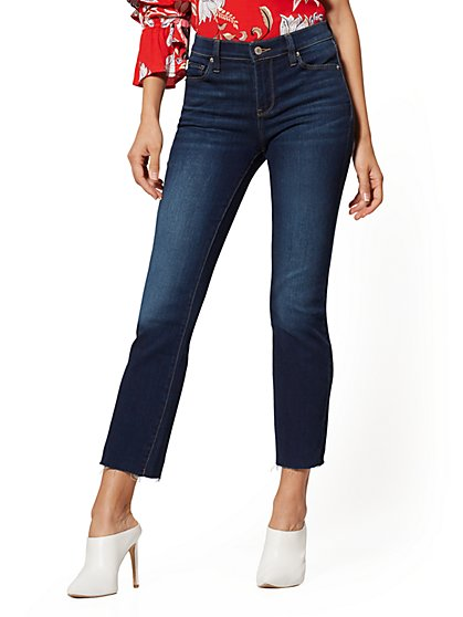 Mid-Rise Demi Bootcut Jeans - Bluebird Blue - New York & Company