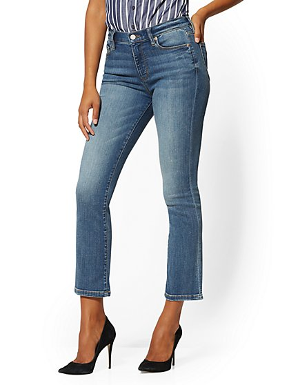 Mid-Rise Demi Bootcut Jeans - Downtown Blue - New York & Company