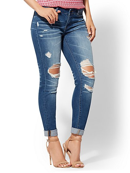 Mid-Rise Destroyed Boyfriend Jeans - New York & Company