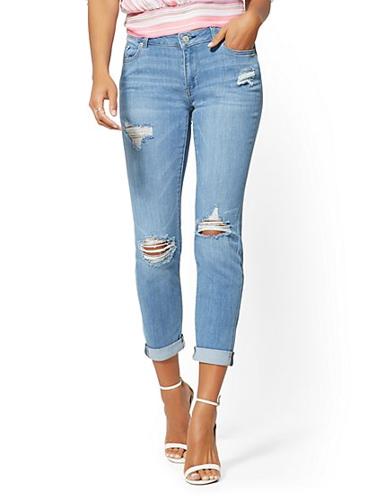 Mid-Rise Destroyed Curvy Boyfriend Jeans - New York & Company