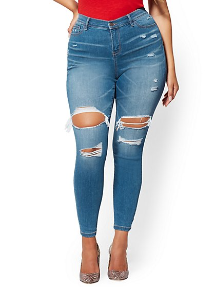 Mid-Rise Destroyed Curvy Super-Skinny Jeans - Blue Spark - New York & Company