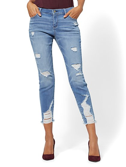 Mid-Rise Destroyed Super-Skinny Ankle Jeans - Blue Wash - New York & Company