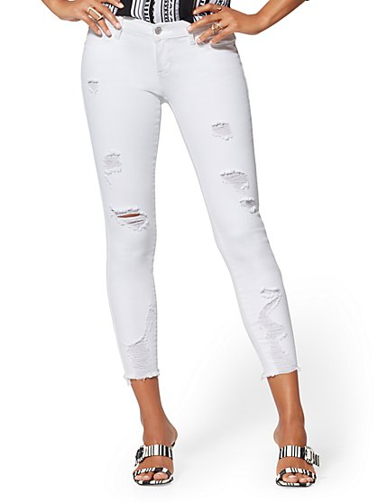 Mid-Rise Destroyed Super-Skinny Ankle Jeans - White - New York & Company